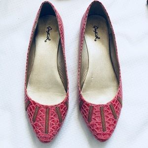 Qupid | Croc Textured Vegan Red and Pink Flats